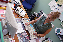 Woman using computer,