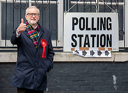 © Licensed to London News Pictures. 12/12/2019. London, UK. Jeremy Corbyn Leader of the Labour Party arrives at the polling Station in Islington to cast his vote in today's General Election as the Country decides on a new political party and Prime Minister. Photo credit: Alex Lentati/LNP