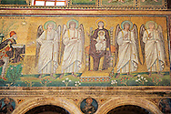 Byzantine Roman mosaics , c. 561 AD, in the Basilica of Sant Apollinare Nuovo, depicting  the Three Magi, moving from the city of Classe towards the group of the Madonna and Child surrounded by four angels. Ravenna Italy, A UNESCO World Heritage Site.