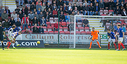 Dunfermline's Faissal El Bahktaoui (left) scoring their first goal. <br /> Dunfermline 5 v 1 Cowdenbeath, Scottish League Cup game played today at East End Park.