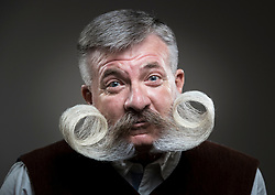 Gilles Pollinen attends the fourth British Beard and Moustache Championships at the Empress Ballroom, Winter Gardens, Blackpool.
