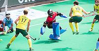 ANTWERP -    Chris Ciriello (not on the picture)  scores 0-3) . Goalkeeper Sreejesh  Parattu during  the hockeymatch   India vs Australia.  left Aran Zalewski  and right Matt Gohdes . WSP COPYRIGHT KOEN SUYK