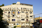 Zodiac clock on the facade of a building on 101 Herzl Street Tel Aviv, Israel