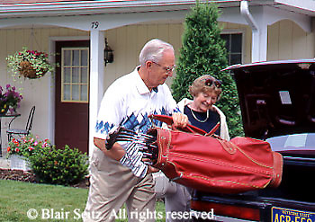 Active Aging Senior Citizens, Retired, Activities, Elderly Couple Outdoor Recreation, Staying Fit, Enjoying Nature, Retirement Community Couple Pack for Golfing, Staying Young