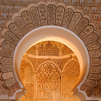 North Africa, Morocco, Marrakesh. The prayer room, which faces Mecca, in the Ben Youssef Madrassa in Marrakesh.