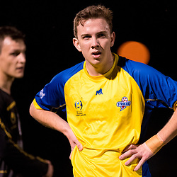 BRISBANE, AUSTRALIA - AUGUST 26: Ryan Palmer of the Strikers looks on during the NPL Queensland Senior Men's Semi Final match between Brisbane Strikers and Moreton Bay Jets at Perry Park on August 26, 2017 in Brisbane, Australia. (Photo by Patrick Kearney)