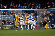 Tjaronn Chery (L) of Queen's Park Rangers celebrating after scoring a consolation goal with Abdenasser El Khayati (R) also of Queen's Park Rangers to make it 1-3.  Skybet football league championship match, Queens Park Rangers v Fulham at Loftus Road Stadium in London on Saturday 13th February 2016.<br /> pic by Steffan Bowen, Andrew Orchard sports photography.