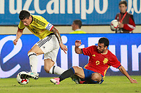 Spain's Pedro Rodriguez (r) and Colombia's James Rodriguez during international friendly match. June 7,2017.(ALTERPHOTOS/Acero)