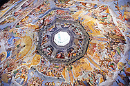 Fresco of the Last Judgement on the inside of the Dome by Vasari, begun in 1568, and completed by Federico Zuccaro in 1579. Duomo of Florence,  Basilica of Saint Mary of the Flower; Firenza ( Basilica di Santa Maria del Fiore ).  Built between 1293 & 1436. Italy .<br /> <br /> Visit our ITALY PHOTO COLLECTION for more   photos of Italy to download or buy as prints https://funkystock.photoshelter.com/gallery-collection/2b-Pictures-Images-of-Italy-Photos-of-Italian-Historic-Landmark-Sites/C0000qxA2zGFjd_k<br /> .<br /> <br /> Visit our MEDIEVAL PHOTO COLLECTIONS for more   photos  to download or buy as prints https://funkystock.photoshelter.com/gallery-collection/Medieval-Middle-Ages-Historic-Places-Arcaeological-Sites-Pictures-Images-of/C0000B5ZA54_WD0s