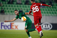 RAZGRAD, BULGARIA - OCTOBER 22: Jeremy Gelein of Antwerp competes against Higinio Marin of Ludogorets during the UEFA Europa League Group J stage match between PFC Ludogorets Razgrad and Royal Antwerp at Ludogorets Arena on October 22, 2020 in Razgrad, Bulgaria. (Photo by Nikola Krstic/MB Media)