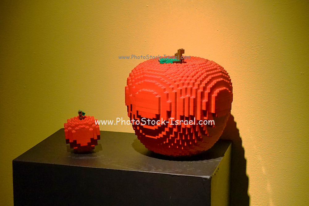 Orange Statue from Lego building blocks at the Holon Children's museum. Holon, Israel