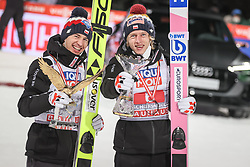 06.01.2021, Paul Außerleitner Schanze, Bischofshofen, AUT, FIS Weltcup Skisprung, Vierschanzentournee, Bischofshofen, Bischofshofen, Finale, Podium Gesamtsieg, im Bild Kamil Stoch (POL), Dawid Kubacki (POL) // Kamil Stoch (POL), Dawid Kubacki (POL) during Podium for the overall victory of the Four Hills Tournament of FIS Ski Jumping World Cup at the Paul Außerleitner Schanze in Bischofshofen, Austria on 2021/01/06. EXPA Pictures © 2020, PhotoCredit: EXPA/ Tadeusz Mieczynski