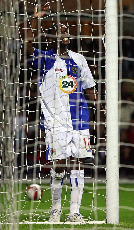 Photo: Paul Thomas.<br /> Blackburn Rovers v SV Red Bell. UEFA Cup. 28/09/2006.<br /> <br /> Benni McCarthy of Blackburn rues a missed chance at goal.