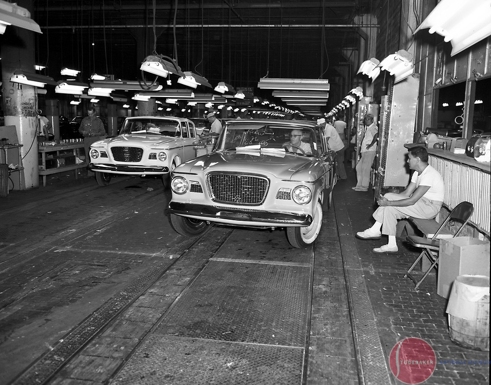 1960 Studebaker Larks roll off the assembly line at the company's South Bend, Indiana, plant.