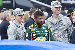 June 10, 2018 - Brooklyn, Michigan, U.S - NASCAR driver BUBBA WALLACE JR. (43) poses with members of the U.S. Air Force for a picture at Michigan International Speedway. (Credit Image: © Scott Mapes via ZUMA Wire)
