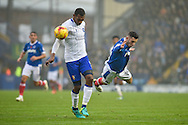 Mansfield Town Defender, Krystian Pearce (5) stops Portsmouth Forward, Conor Chaplin (19) during the EFL Sky Bet League 2 match between Portsmouth and Mansfield Town at Fratton Park, Portsmouth, England on 12 November 2016. Photo by Adam Rivers.