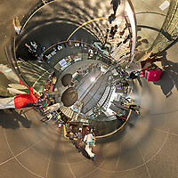 Kyoto Train Station Level Two -- Inverse Little Planet View (0.25x). Composite of 44 images taken with a Leica CL camera and 18 mm f/2.8 lens (ISO 400, 18 mm, f/5.6, 1/60 sec). Raw images processed with Capture One Pro and AutoPano Giga Pro.