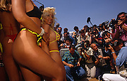During the Cannes Film Festival, we see a group of women taken from a very low angle , posing in bikinis and revealing swim wear for a frenzy of photographers on La Croisette, Cannes' sea front in the French Riviera resort, Cote d'Azur. One blonde girl is looking down into the camera while we see only the hips, arms, and legs of the others as they parade their bodies in front of the media who are grouped tightly together with cameras and a sound microphone. Young women publicising movies or just themselves regularly strut along the beaches and pavements of this French town. The weather is typically bright for May with clear skies and high temperatures. Cannes  is a major tourist centre and a leading resort on the French Riviera. Located in the Alpes-Maritimes région, Founded in 1939, the International Film Festival is one of the world's most prestigious and eccentric of celebrations of film and the cinema industry.