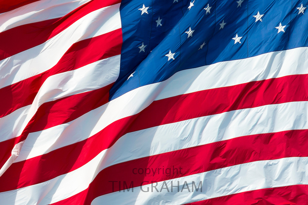Stars and Stripes American flag blowing in the wind, USA