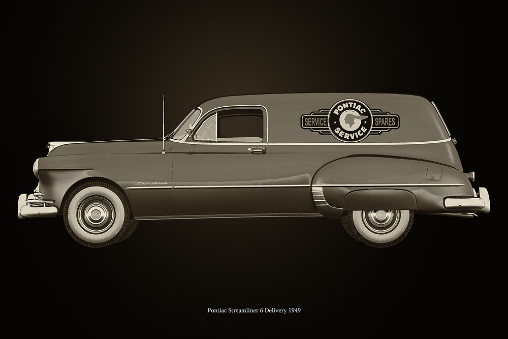 The Pontiac Steamliner was a very popular model of Pontiac as a sedan and coupe. When General Motors took over the brand, several more versions of the Pontiac Streamliner were released including the Pontac Streamliner Delivery which served numerous dealers for years. –<br /> <br /> BUY THIS PRINT AT<br /> <br /> FINE ART AMERICA<br /> ENGLISH<br /> https://janke.pixels.com/featured/pontiac-streamliner-delivery-black-and-white-jan-keteleer.html<br /> <br /> WADM / OH MY PRINTS<br /> DUTCH / FRENCH / GERMAN<br /> https://www.werkaandemuur.nl/nl/shopwerk/Pontiac-Streamliner-Delivery/744659/132?mediumId=11&size=75x50<br /> <br /> -