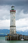 Lindau Lighthouse and Harbour on Lake Constance and the Bavarian Alps, Germany