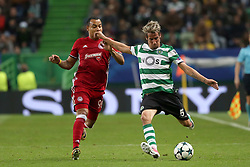 November 22, 2017 - Lisbon, Portugal - Sporting's defender Fabio Coentrao from Portugal (R ) vies with Olympiacos' Colombian midfielder Felipe Pardo during the UEFA Champions League group D football match Sporting CP vs Olympiacos FC at Alvalade stadium in Lisbon, Portugal on November 22, 2017. Photo: Pedro Fiuza (Credit Image: © Pedro Fiuza via ZUMA Wire)