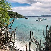 An anchorage on the northern end of White Bay on Jost Van Dyke in the British Virgin Islands.