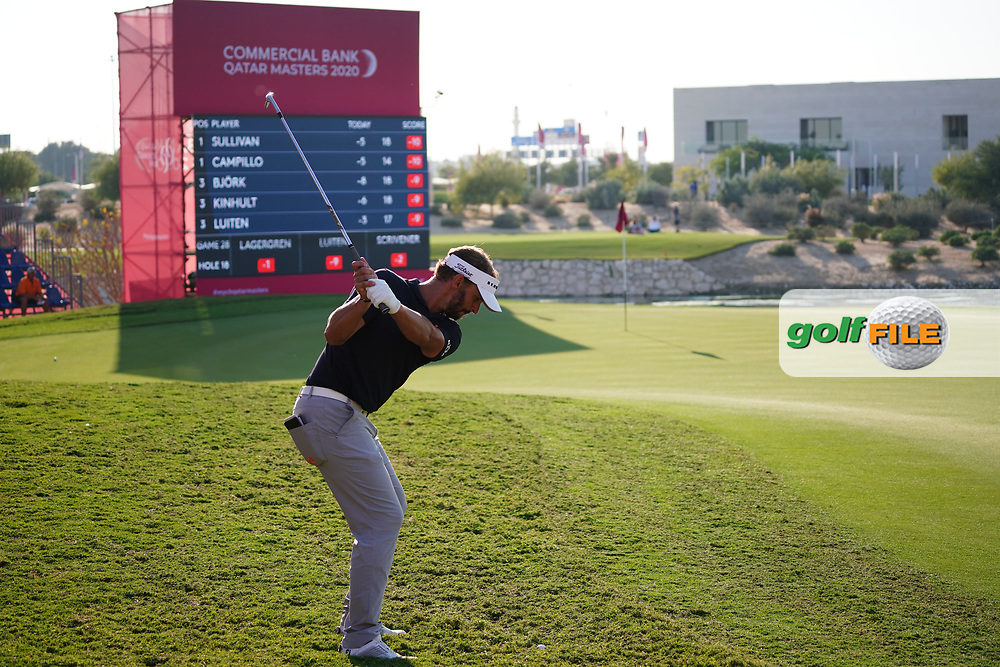 Joost Luiten (NED) on the 18th during Round 2 of the Commercial Bank Qatar Masters 2020 at the Education City Golf Club, Doha, Qatar . 06/03/2020<br /> Picture: Golffile   Thos Caffrey<br /> <br /> <br /> All photo usage must carry mandatory copyright credit (© Golffile   Thos Caffrey)