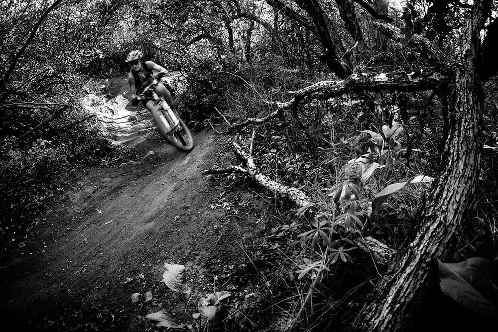 Heather Goodrich Rides the scrub oak trails of Prince Creek in Carbondal, Colorado.