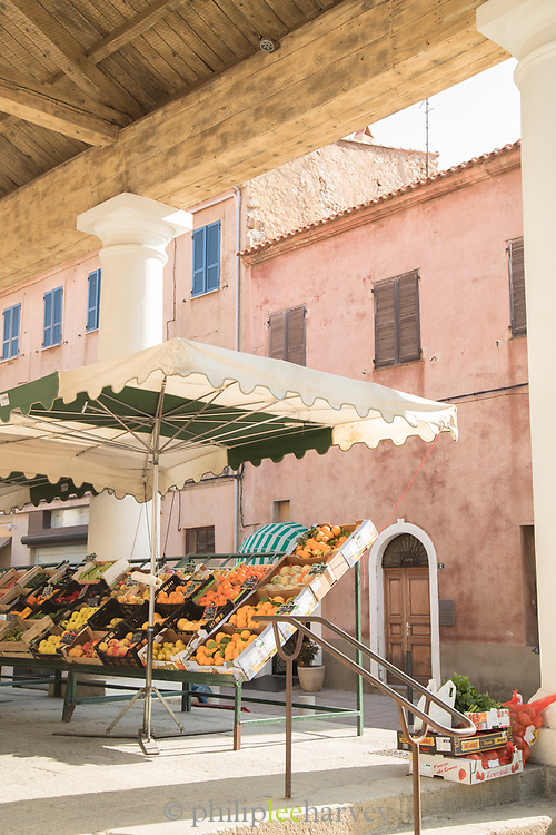 Fruit for sale at market stall, Llle-Rousse, Corsica, France