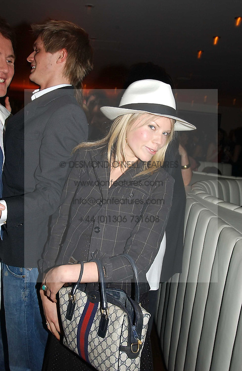 GEORGINA CASTLEMAN at a night of Cuban Cocktails and Cabaret hosted by Edward Taylor and Charles Beamish at Floridita, 100 Wardour Street, London W1 on 14th April 2005.<br />