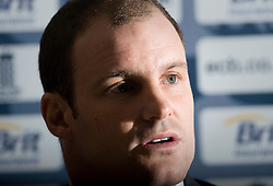 © Licensed to London News Pictures. 02/12/2011. Heathrow, UK. England Cricket Captain, Andrew Strauss speaking at a press conference held at Sofitel Hotel, Heathrow Airport on January 2nd, 2012 pros to England's departure to the United Arab Emirates where they face Pakistan in a test series. Photo credit : Ben Cawthra/LNP
