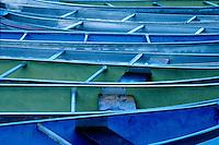 Canoes present horizontal lines, Cypress Hills Park, Saskatchewan