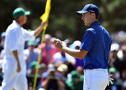 Jordan Spieth reacts following a putt on the 2nd green during the third round of the Masters Tournament at Augusta National Golf Club in Augusta, Ga., on Saturday, April 8, 2017. (Photo by Brant Sanderlin/Atlanta Journal-Constitution/TNS) *** Please Use Credit from Credit Field ***