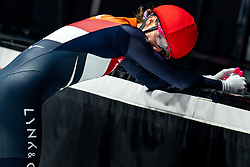 Suzanne Schulting of Netherlands after the gold medal  on 500 meter during ISU World Short Track speed skating Championships on March 06, 2021 in Dordrecht