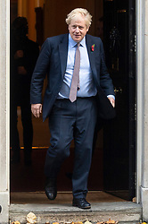 © Licensed to London News Pictures. 06/11/2019. London, UK. British Prime Minister Boris Johnson leaves 10 Downing St for a meeting with Queen Elizabeth II to dissolve Parliament for a General Election. Photo credit: Ray Tang/LNP