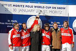 Team Switzerland : 1. Philipp Maeder, 2. Frederico Bachmann, 3. Bautista Ortiz de Urbina, 4. Augustin Martinez<br /> Match Germany - Switzerland<br /> St.Moritz Polo World Cup On Snow 2011<br /> © Dirk Caremans