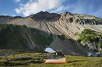 Backcountry camp at Tapto Lakes. North Cascades National Park, Washington