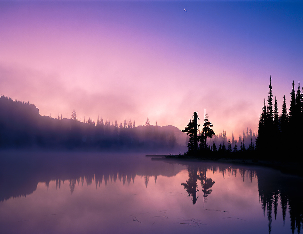 Reflection Lake, morning light, July, Mount Rainier National Park, Washington, USA.