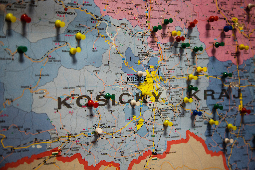 A map of the Kosice region in Eastern Slovakia in the office of the Roma Media Center in Kosice, Slovakia.