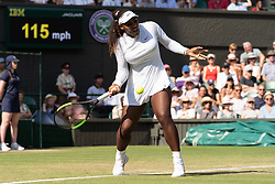 © Licensed to London News Pictures. 06/07/2018. London, UK. Serena Williams of the United States of America plays Kristina Mladenovic of France of in the women's  singles 3nd round draw of the Wimbledon Tennis Championships 2018 on day 5 held at the All England Lawn Tennis and Croquet Club. Photo credit: Ray Tang/LNP