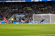 Lucas Leiva of Liverpool sees his penalty saved by Manchester city goalkeeper Wilfredo Caballero in the penalty shoot out . Capital One Cup Final, Liverpool v Manchester City at Wembley stadium in London, England on Sunday 28th Feb 2016. pic by Chris Stading, Andrew Orchard sports photography.
