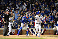 CHICAGO, IL - OCTOBER 22: Anthony Rizzo #44 of the Chicago Cubs hits a solo home run in the fifth inning during Game 6 of the NLCS against the Los Angeles Dodgers at Wrigley Field on Saturday, October 22, 2016 in Chicago, Illinois. (Photo by Ron Vesely/MLB Photos via Getty Images)  *** Local Caption *** Anthony Rizzo