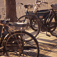 China, PRC, Beijing city scene, parked bicycles