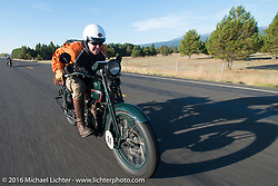 Dean Bordigioni (Dino) riding his 1923 Harley-Davidson JS on this 39 degree (27 degree windchill) morning during stage14 - (284 miles) of the Motorcycle Cannonball Cross-Country Endurance Run, which on this day ran from Meridian to Lewiston, Idaho, USA. Friday, September 19, 2014.  Photography ©2014 Michael Lichter.