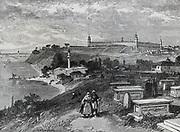 Crimean War 1853-1856:  Barrack ospital, Scutari, burial ground in foreground.