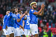 Anton Walkes of Portsmouth (2) claps the away fans during the EFL Sky Bet League 1 first leg Play Off match between Sunderland and Portsmouth at the Stadium Of Light, Sunderland, England on 11 May 2019.