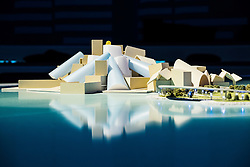 View of proposed new Guggenheim Museum on  Saadiyat Island in Abu Dhabi United Arab Emirates