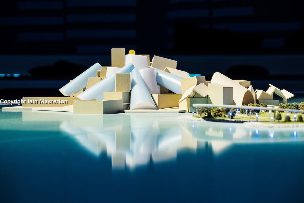 View of proposed new Guggenheim Museum on  Saadiyat Island in Abu Dhabi United Arab Emirates