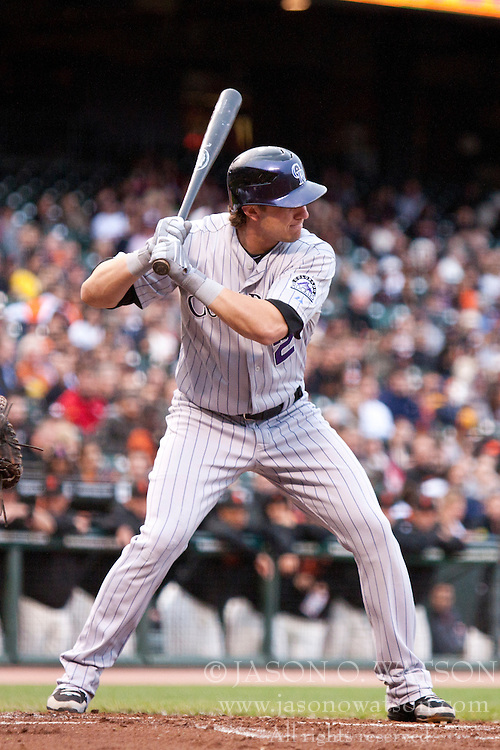 June 2, 2010; San Francisco, CA, USA;  Colorado Rockies shortstop Troy Tulowitzki (2) at bat against the San Francisco Giants during the second inning at AT&T Park. San Francisco defeated Colorado 4-1.